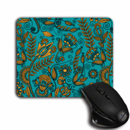 Teal and Gold Floral Design, cloth top, rubber backed Mouse Pad   Blue fox Gifts