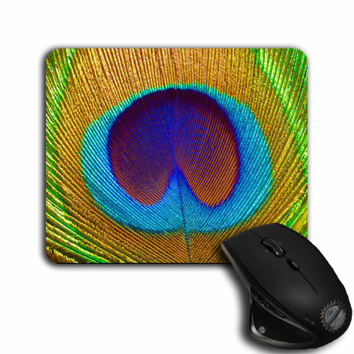 Beautiful Peacock Feather Printed Mouse Pad | Blue Fox Gifts
