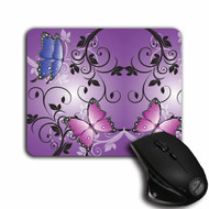 Purple Floral Butterfly Mouse pad, Cloth Top non Slip | Blue Fox Gifts
