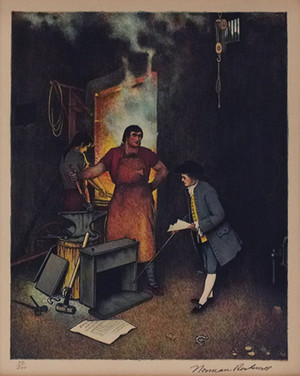 BLACKSMITH SHOP BY NORMAN ROCKWELL