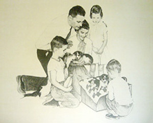 PUPPIES BY NORMAN ROCKWELL