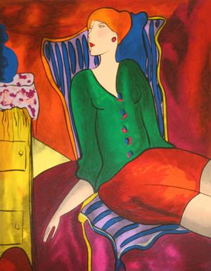 SITTING WOMEN IN GREEN BY LINDA LE KINFF