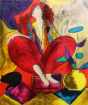 SITTING WOMAN IN RED WITH CAT BY LINDA LE KINFF