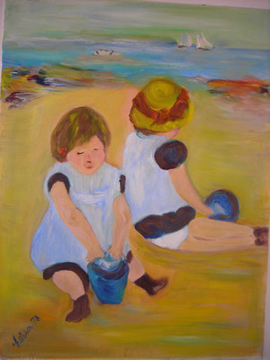 CHILDREN PLAYING ON THE BEACH BY ESTERA NANASSY