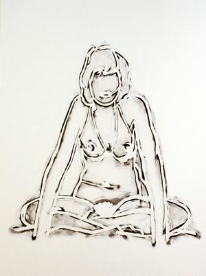 MONICA SITTING CROSS-LEGGED BY TOM WESSELMANN