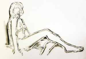 MONICA SITTING, ONE LEG ON THE OTHER BY TOM WESSELMANN