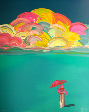 UMBRELLA MAN I WITH RAINBOW SKY BY PETER MAX