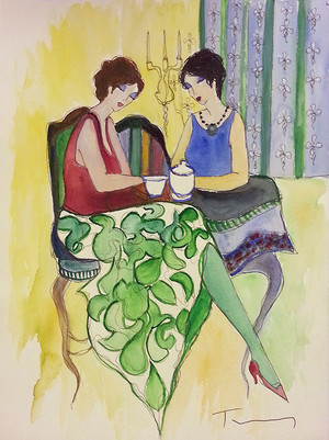EVENING TEA (WATERCOLOR) BY ITZCHAK TARKAY