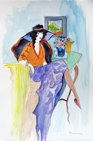 PURPLE SKIRT (WATERCOLOR) BY ITZCHAK TARKAY