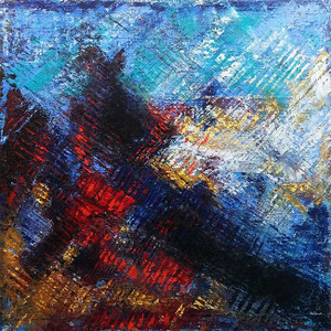 BLUE RED ABSTRACT (CQ6) BY AL RAZZA