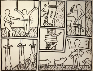 UNTITLED I FROM BLUEPRINT SERIES  BY KEITH HARING
