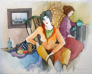 QUIET AT TEA TIME (WATERCOLOR) BY ITZCHAK TARKAY