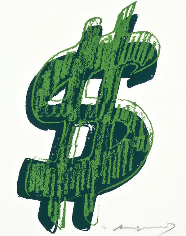 $ SINGLE DOLLAR SIGN (GREEN) FS II.278 BY ANDY WARHOL