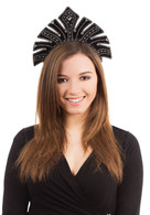 Carnival Headdress. Black with Gems