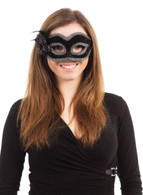 Black Mask Flower/Feather , On Glasses Frame