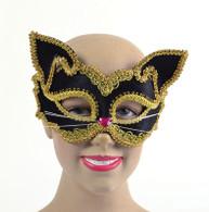 Black/Gold Cat Mask Mask (on glasses style frame)