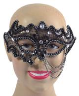 Black Decorative 3/4 Mask (on glasses style frame)