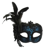 Blue Side Feather Mask On Headband.