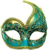 Decorative Half Mask. Turquoise/Gold.
