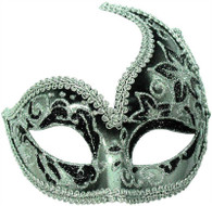 Decorative Half Mask. Silver/Black.