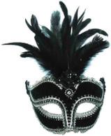 Black Velvet Mask / Tall Feather.