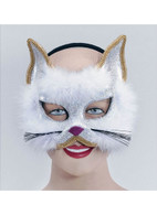 Glitter Cat Mask White On Headband.