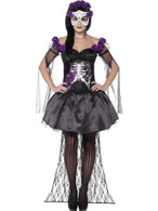 Day of the Dead Senorita Costume, with Printed Top, UK 8-10
