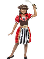 Girls Pirate Captain Costume, Medium