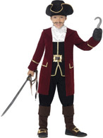 Deluxe Pirate Captain Costume, with Jacket, Medium Age 7-9