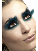 Eyelashes, Large Feather with Aqua Dots