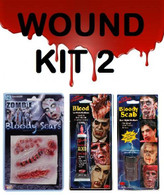 SCARS/WOUNDS MAKEUP KIT, BLOODY SCAB, FAKE BLOOD, SCAR/STITCHES, HALLOWEEN