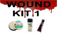 SCARS/WOUNDS MAKEUP KIT, FAKE SKIN, FAKE BLOOD, FX WAX,HALLOWEEN FANCY DRESS