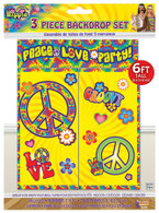 Hippie Décor Backdrop Set 3pc/6' Tall
