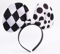Harlequin Clown Bow Tie Headband