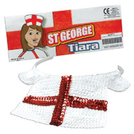 England, St George Sequin Cross Flag Tiara on Headband, World Cup Novelty