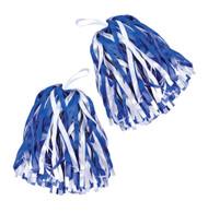 Set of 2 Pom Poms. Blue/White, Cheerleader Fancy Dress