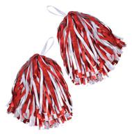 Set of 2 Pom Poms. Red/White, Cheerleader Fancy Dress