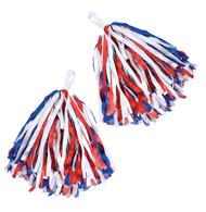 Set of 2 Pom Poms. Red/White/Blue, Cheerleader Fancy Dress