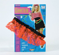 80's Neon Lace Garter. Orange, Fancy Dress