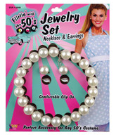 50s Pearl Necklace + Earring Set