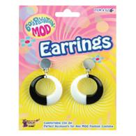 MOD EARRINGS BLACK/WHITE, FANCY DRESS ACCESSORY