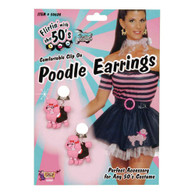 PINK POODLE EARRINGS, FANCY DRESS ACCESSORY