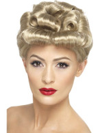 Short Blonde Curly Wig, 40s Vintage Wig 1940's, WW2