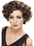 Short Brown Curly Wig, 1920s Flapper Wig,  Charleston.