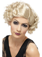 Short Blonde Curly Wig, 1920s Flapper Wig,  Charleston.