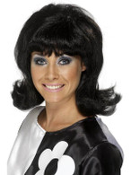Long Black Curly Wig, 60s Flick-Up Wig