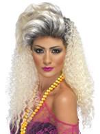 Long Blonde Frizzy Wig, 80's Crimp Wig, 1980's Fancy Dress