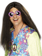 Long Brown Straight Wig, Hippy Wig, 1960's Fancy Dress Accessory