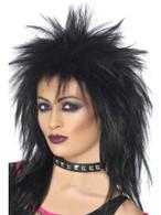 Long Black Spikey Wig, Rock Diva Wig, 1990's Fancy Dress Accessory