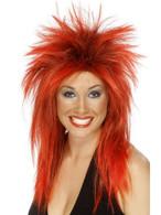 Long Red Spikey Wig, Rock Diva Wig, 1990's Fancy Dress Accessory